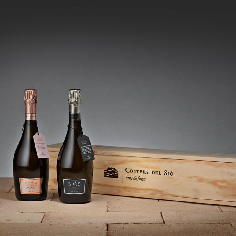 Lot de vins Siós Brut Reserva en caixa de fusta