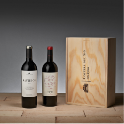 Lot de vins negres 2 ampolles en caixa de fusta Artesa