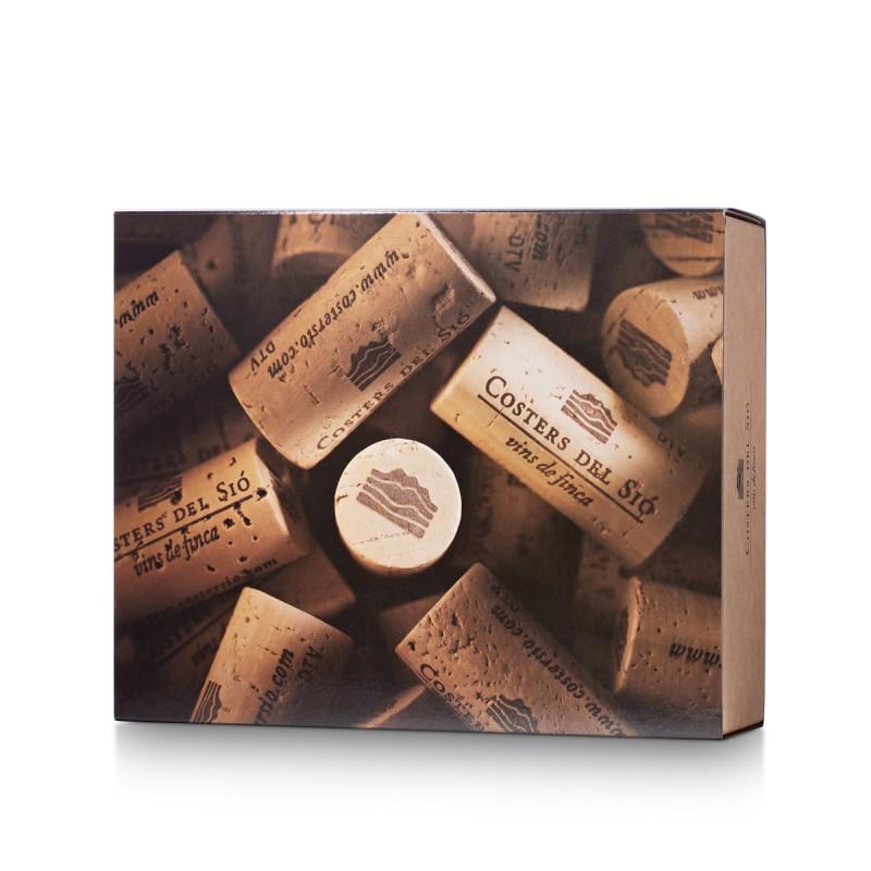 Estuche de cartón con funda para 2 o 3 botellas de vino