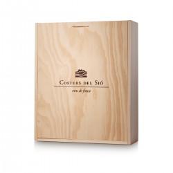 Caja de madera para 4 botellas de vino con tapa deslizante
